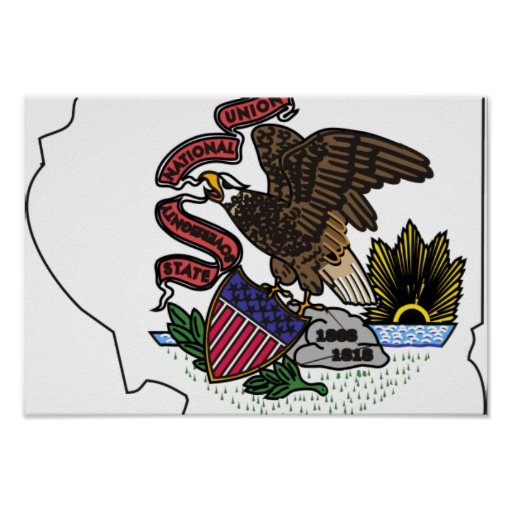 Illinois Flag Map Poster