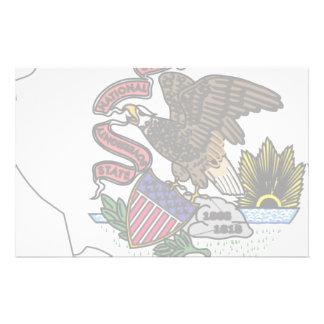 Illinois Flag Map Stationery