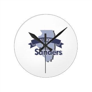 Illinois for Bernie Sanders Round Wallclocks