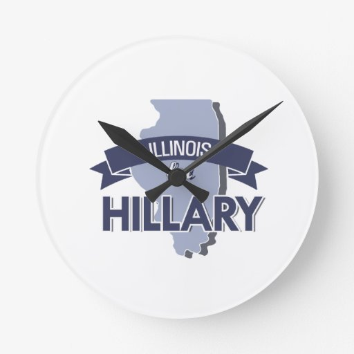 ILLINOIS FOR HILLARY -.png Wall Clocks