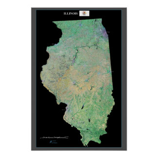 Illinois from space satellite poster