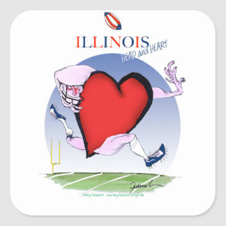 illinois head heart, tony fernandes square sticker