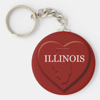 Illinois Heart Map Keychain