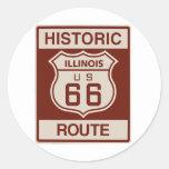 Illinois histórica RT 66 Pegatinas Redondas
