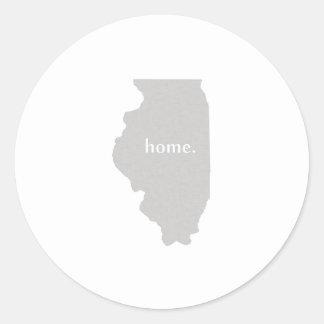 Illinois home silhouette state map classic round sticker