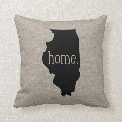 Throw Pillow That Says Home : Illinois Home State Throw Pillow Zazzle