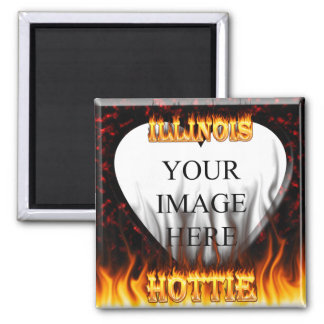 Illinois Hottie fire and red marble heart. 2 Inch Square Magnet