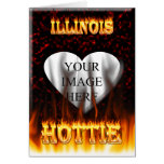 Illinois Hottie fire and red marble heart. Greeting Card