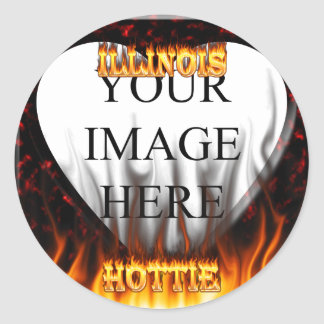 Illinois Hottie fire and red marble heart. Classic Round Sticker