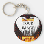 Illinois Hottie fire and red marble heart. Keychains