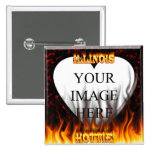 Illinois Hottie fire and red marble heart. Pins
