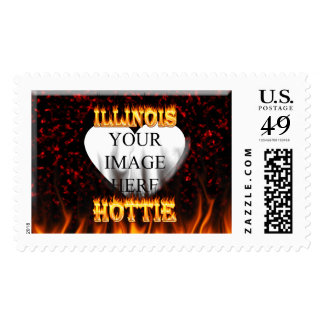 Illinois Hottie fire and red marble heart. Postage Stamp