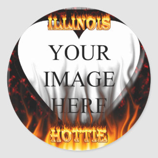 Illinois Hottie fire and red marble heart. Round Sticker