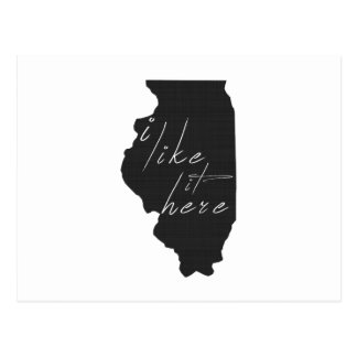 Illinois I Like It Here State Silhouette Black Postcard