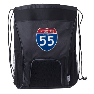 Illinois IL I-55 Interstate Highway Shield - Drawstring Backpack