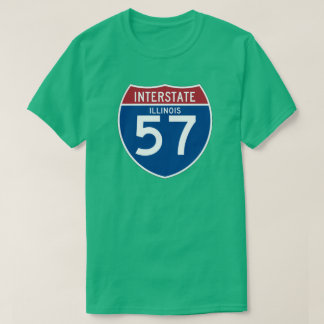 Illinois IL I-57 Interstate Highway Shield - T-Shirt