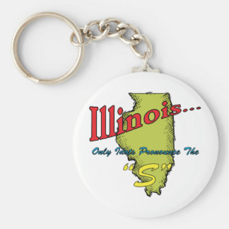 """Illinois IL Motto ~ Only Idiots Pronounce The """"S"""" Basic Round Button Keychain"""