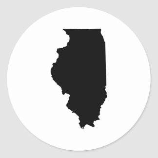 Illinois in Black and White Classic Round Sticker
