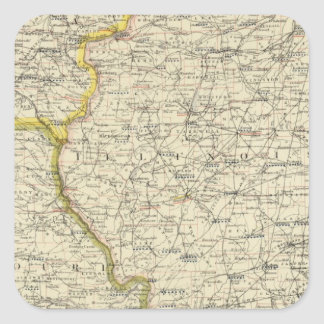 Illinois, Indiana, Iowa, Missouri Square Sticker