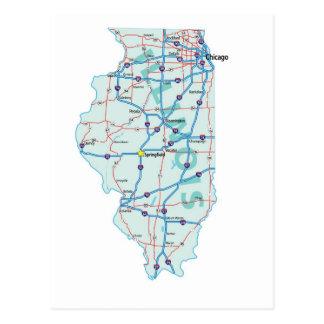 Illinois Interstate Map Postcard