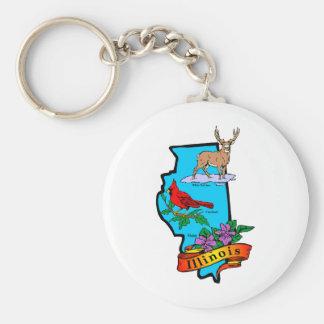 Illinois Basic Round Button Keychain