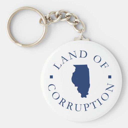 Illinois Land Of Corruption Basic Round Button Keychain