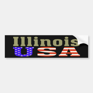 ¡Illinois los E.E.U.U.! Pegatina para el parachoqu Pegatina Para Auto