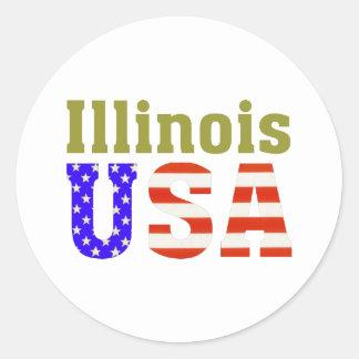 ¡Illinois los E.E.U.U.! Pegatina Redonda