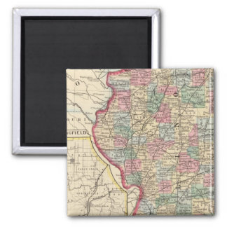 Illinois Map by Mitchell 2 Inch Square Magnet