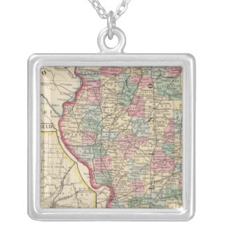 Illinois Map by Mitchell Square Pendant Necklace