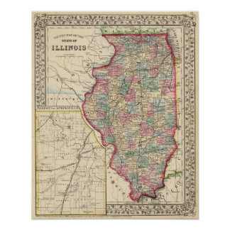 Illinois Map by Mitchell Poster