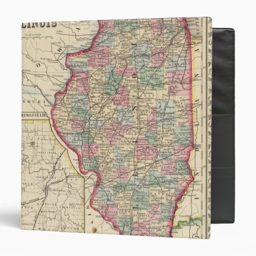 Illinois Map by Mitchell Vinyl Binder