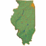 "Illinois Map Magnet Cut Out<br><div class=""desc"">This magnet,  shaped like the state of Illinois,  displays a relief map of the state surrounded by a gold effect border. Illinoisan decor for your fridge. 