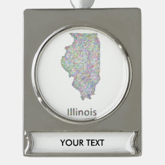 Illinois map silver plated banner ornament