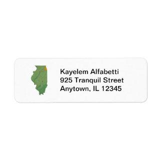 Illinois Map Return Address Label