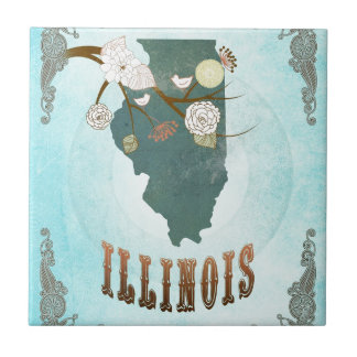Illinois Map With Lovely Birds Tile