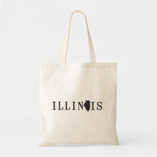Illinois Name with State Shaped Letter Tote Bag