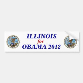 Illinois para el pegatina 2012 de Obama Pegatina Para Auto