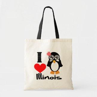 Illinois Penguin - I Love Illinois Bag