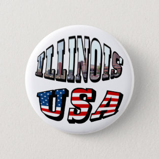 Illinois Picture and USA Flag Text Button