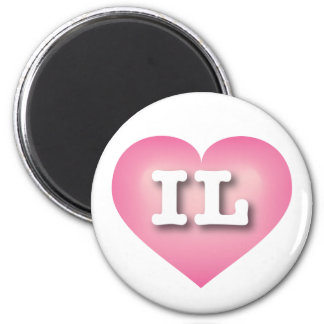 Illinois Pink Fade Heart - Big Love 2 Inch Round Magnet