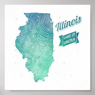 USA Themed Illinois Poster