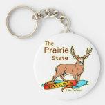 Illinois Prairie State Whitetail Deer Keychain