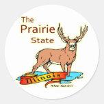 Illinois Prairie State Whitetail Deer Classic Round Sticker