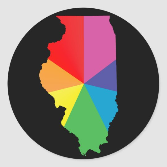 illinois pride. classic round sticker
