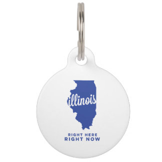 illinois   right here, right now   blue pet name tag