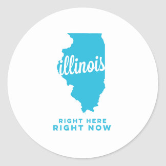 illinois   right here, right now   sky blue classic round sticker