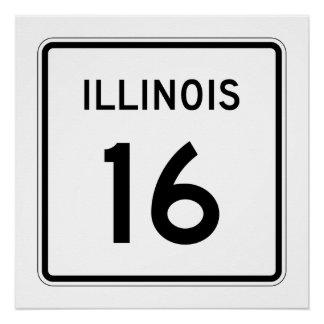 Illinois Route 16 Poster