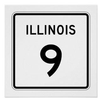 Illinois Route 9 Poster
