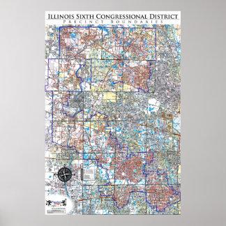 Illinois Sixth Congressional Precinct Map (IL-06) Posters